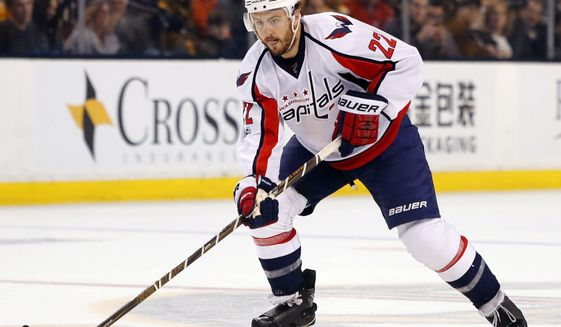 FILE - In this April 8, 2017, file photo, Washington Capitals defenseman Kevin Shattenkirk works with the puck during the team's NHL hockey game against the Boston Bruins in Boston. Shattenkirk at 28 is looking at a long-term, lucrative deal after leading all pending unrestricted free agents with 56 points last season. (AP Photo/Winslow Townson, File)