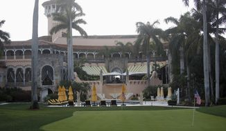 FILE - In this April 15, 2017 file photo, President Donald Trump's Mar-a-Lago estate in Palm Beach, Fla. Two House Democrats want to compel the Air Force to detail how much has been spent on trips that President Donald Trump has made to his Florida estate and other properties that he and his family own.  (AP Photo/Alex Brandon, File)