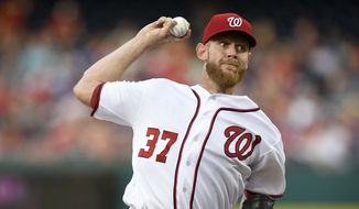 Washington Nationals starting pitcher Stephen Strasburg throws during the third inning of the team's baseball game against the Chicago Cubs, Wednesday, June 28, 2017, in Washington. (AP Photo/Nick Wass)
