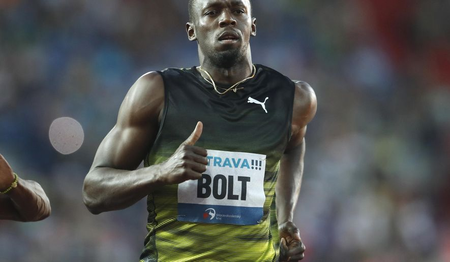 Usain Bolt from Jamaica, competes to win the 100 meters men's event at the Golden Spike athletic meeting in Ostrava, Czech Republic, Wednesday, June 28, 2017. (AP Photo/Petr David Josek)