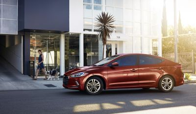 This photo provided by Hyundai Motor America shows the 2017 Hyundai Elantra Value Edition. New for 2017, the Hyundai Elantra gets a new look, a trio of new engines and impressive tech features. (Courtesy of Hyundai Motor America via AP)