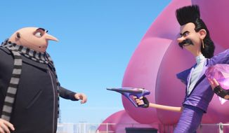 "This image released by Illumination and Universal Pictures shows characters Gru, voiced by Steve Carell, left, and Balthazar Bratt, voiced by Trey Parker, in a scene from ""Despicable Me 3.""  (Illumination and Universal Pictures via AP)"