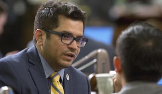 FILE - In this Aug. 18, 2016 file photo Assemblyman Jimmy Gomez, D-Los Angeles appears at the Capitol in Sacramento, Calif. Gomez, who was elected to the House of Representatives in a special election to replace Xavier Becerra, who is now California Attorney General, will be sworn-in to office July 11, 2017.  (AP Photo/Rich Pedroncelli, File)