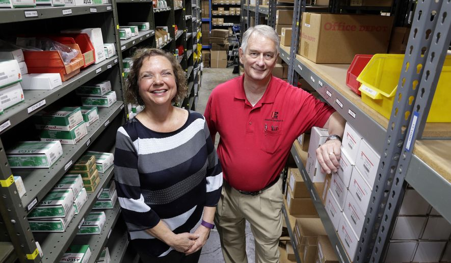ADVANCE FOR MONDAY, JULY 3, 2017 - In this June 21, 2017 photo, Carole Cook, CEO, and Larry Davis, president, pose in the warehouse of Industrial Equipment Company in Houston. (Michael Wyke/Houston Chronicle via AP)