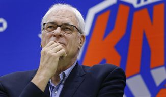 FILE - In this July 8, 2016, file photo, New York Knicks president Phil Jackson answers questions during a news conference at the team's training facility in Greenburgh, N.Y. The Knicks and Jackson parted ways Wednesday morning, June 28, 2017, ending a three-year tenure that saw plenty of tumult and not a single playoff appearance. (AP Photo/Julie Jacobson, File)
