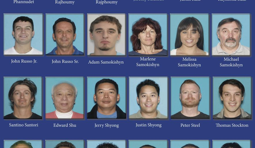 In this undated pressboard released by the Colorado Attorney General's Office shows dozens of Coloradans accused of running a marijuana trafficking ring. Colorado officials announced Wednesday, June 28, 2017, that they have busted a mammoth marijuana trafficking ring that pretended to be growing weed for sick people but was instead illegally shipping the drug to a half-dozen other states and bilking investors, including former NFL players. A Denver grand jury indicted 62 people and 12 businesses in a case that involved federal and state agents executing over 100 search warrants in the Denver area. (Colorado Attorney General's Office via AP)