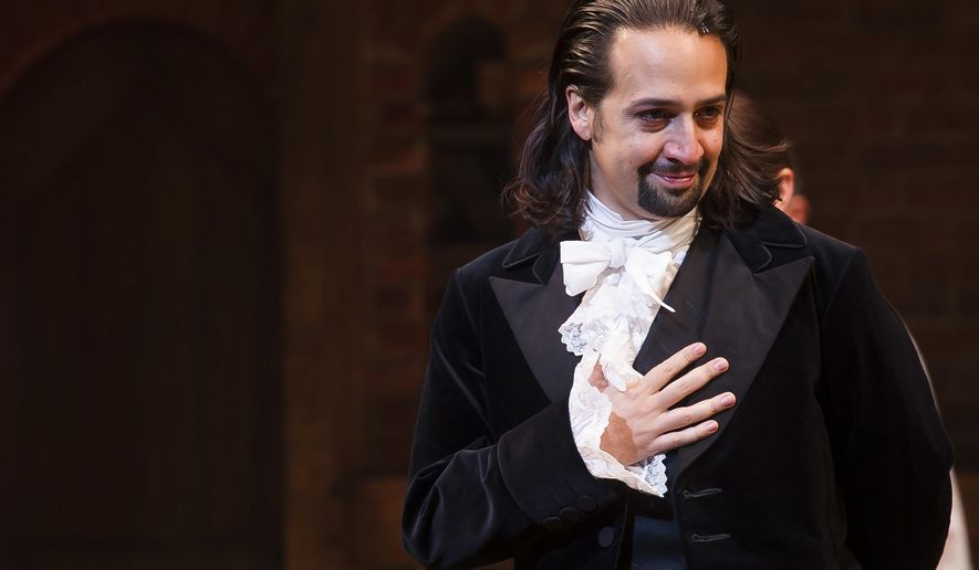 "FILE - In this Aug. 6, 2015, file photo, Lin-Manuel Miranda appears at the curtain call following the opening night performance of ""Hamilton"" at the Richard Rodgers Theatre in New York. Miranda has enlisted celebrities to sing lyrics from the musical and post them to social media in order to raise money for a coalition of non-profits focused on immigration. (Photo by Charles Sykes/Invision/AP, File)"