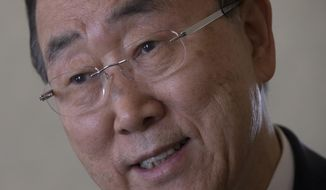 FILE- In this June 14, 2017, file photo, Former U.N. Secretary-General Ban Ki-moon speaks during an interview with The Associated Press in his hotel room in Madrid, Spain. Ki-moon is speaking at the John F. Kennedy Presidential Library & Museum in Boston on Wednesday, June 28. (AP Photo/Paul White, File)
