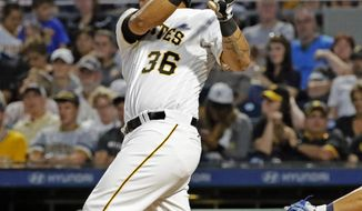 Pittsburgh Pirates' Jose Osuna drives in a run with a double to right field off Tampa Bay Rays starting pitcher Blake Snell in the fifth inning of a baseball game in Pittsburgh, Wednesday, June 28, 2017. Osuna advanced to third on the throw to the plate. (AP Photo/Gene J. Puskar)