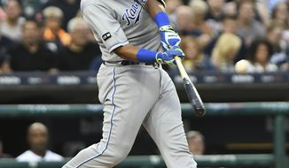 Kansas City Royals catcher Salvador Perez hits a two-run home run during the fourth inning of the team's baseball game against the Detroit Tigers, Wednesday, June 28, 2017, in Detroit. (AP Photo/Lon Horwedel)