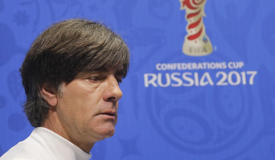 Germany coach Joachim Loew seen prior to a news conference at the Fisht Stadium in Sochi, Russia, Wednesday, June 28, 2017. Germany will play against Mexico in semifinal soccer match of the Confederations Cup on Thursday. (AP Photo/Sergei Grits)