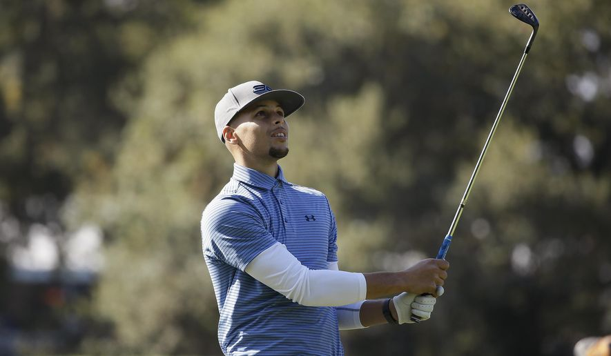 FILE - In this Oct. 12, 2016, file photo, Golden State Warriors' Stephen Curry follows his shot from the 14th fairway of the Silverado Resort North Course during the pro-am event of the Safeway Open PGA golf tournament, in Napa, Calif. Two-time NBA MVP Stephen Curry is set to test his golf game against the pros. The Web.com Tour announced Wednesday, June 28, 2017,  that Curry, who recently won his second NBA championship with the Golden State Warriors, will play in the Ellie Mae Classic. The event at TPC Stonebrae runs from Aug. 3-6.(AP Photo/Eric Risberg) **FILE**