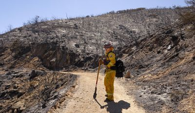 George Huang, a Cal Fire Capt. based in Los Osos, reviews the scene of a wildfire near Huer Huero Road in Santa Margarita, Calif., Tuesday, June 27, 2017. (Joe Johnston/The Tribune (of San Luis Obispo) via AP)