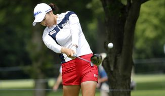 So Yeon Ryu of South Korea hits a tee shot during a practice round for the 2017 Women's PGA Championship golf tournament at the Olympia Fields Country Club Wednesday, June 28, 2017, in Olympia Fields, Ill. (AP Photo/Charles Rex Arbogast)