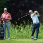 David Lingmerth tees off on the sixth hole during his 5-under 65 opening round lead at the Quicken Loans National in Potomac, Maryland on Thursday. (Associated Press)
