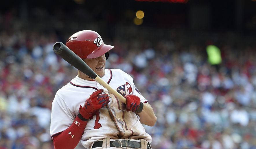 Washington Nationals' Trea Turner reacts after he was hit by a pitch during the seventh inning of a baseball game against the Chicago Cubs, Thursday, June 29, 2017, in Washington. The Cubs won 5-4. (AP Photo/Nick Wass)