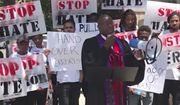 Members of the National Black Church Initiative (NBCI) protested against terrorism and the persecution of Christians outside the Qatari embassy in Washington, D.C., Wednesday. (Breitbart News)