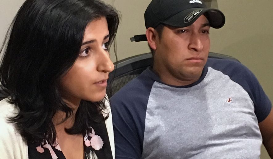 Attorney Saira Hussain, left, and her client, Pedro Figueroa-Zarceno, answer questions about a settlement with the city of San Francisco on Thursday, June 29 , 2017, in San Francisco. Figueroa-Zarceno, a native from El Salvador in the U.S. illegally, sued San Francisco after police turned him over to immigration authorities in violation of the citys sanctuary law and is set to be awarded $190,000 according to Hussain. (AP Photo/Olga Rodriguez)