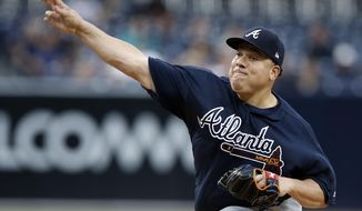 Atlanta Braves starting pitcher Bartolo Colon throws during the first inning of the team's baseball game against the San Diego Padres in San Diego, Wednesday, June 28, 2017. (AP Photo/Alex Gallardo)