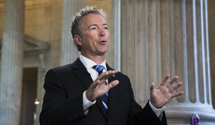 Sen. Rand Paul, R-Ky., a key opponent of the Republican health care bill, does a television news interview on Capitol Hill in Washington, Wednesday, June 28, 2017, the day after Senate Majority Leader Mitch McConnell of Ky. was forced to delay a vote due to rebellion in his own party,  (AP Photo/J. Scott Applewhite)