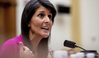 U.S. Ambassador to the UN Nikki Haley testifies on Capitol Hill in Washington, Wednesday, June 28, 2017, before the House Foreign Affairs Committee hearing: 'Advancing U.S. Interests at the United Nations'. (AP Photo/Andrew Harnik)