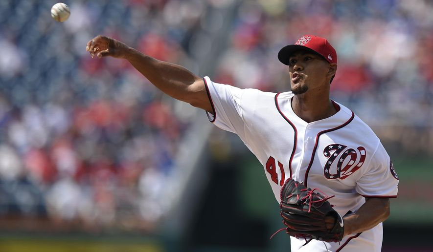 Washington Nationals startwe Joe Ross delivers a pitch during the first inning of a baseball game against the Chicago Cubs, Thursday, June 29, 2017, in Washington. (AP Photo/Nick Wass)