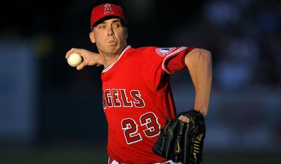 Los Angeles Angels starting pitcher Alex Meyer winds up during the first inning of the team's baseball game against the Los Angeles Dodgers, Wednesday, June 28, 2017, in Anaheim, Calif. (AP Photo/Mark J. Terrill)