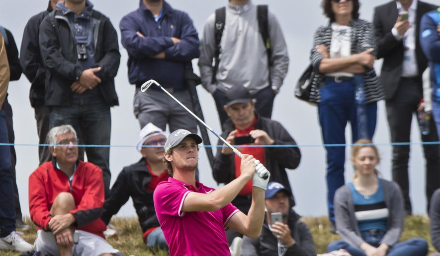 Thomas Pieters of Belgium tees off during the first day of the French Open Golf tournament at Paris National course in Guyancourt, west of Paris, France, Thursday, June 29, 2017. (AP Photo/Michel Euler)