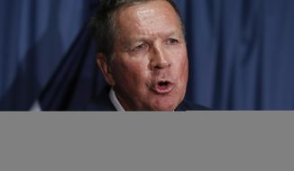 Ohio Gov. John Kasich speaks during a news conference with Colorado Gov. John Hickenlooper at the National Press Club in Washington, Tuesday, June 27, 2017, about Republican legislation overhauling the Obama health care law. (AP Photo/Carolyn Kaster)