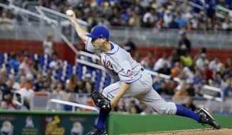 New York Mets' Seth Lugo delivers a pitch during the first inning of the team's baseball game against the Miami Marlins, Thursday, June 29, 2017, in Miami. (AP Photo/Wilfredo Lee)