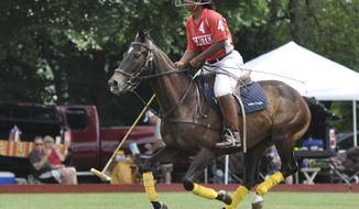 This undated photo provided by the Work to Ride program shows 19-year-old Shariah Harris playing polo at the Polo Club in Lancaster, Pa. Harris, who grew up in single-parent home just outside of west Philadelphia, is set to become the first African American woman to play in a top-tier U.S. polo event when she mounts up Friday, June 30, 2017, for the Postage Stamp Farm polo team in the Silver Cup at the tony Greenwich Polo Club in Connecticut. (Lezlie Hiner/Work to Ride via AP)