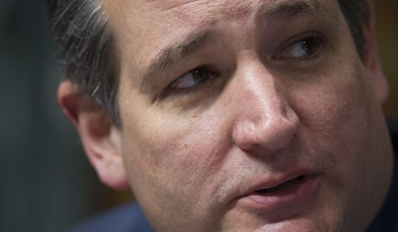 Senate Judiciary Committee member Ted Cruz of Texas questions witnesses on Capitol Hill in Washington on May 10, 2017. (Associated Press) **FILE**