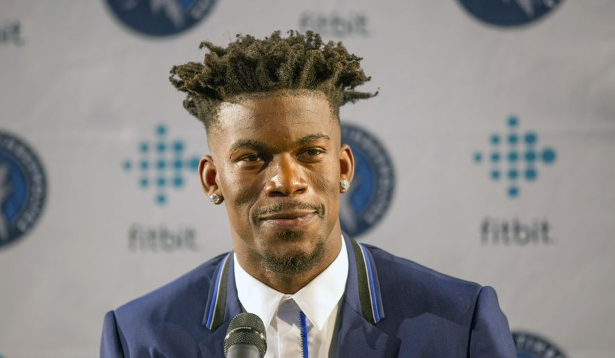 Minnesota Timberwolves new point guard Jimmy Butler smiles during a press conference at Mall of America in Bloomington, Minn., on Thursday, June 29, 2017.(AP Photo/Andy Clayton-King)