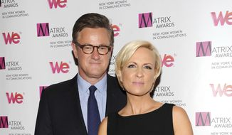 "In this April 22, 2013, file photo, MSNBC's ""Morning Joe"" co-hosts Joe Scarborough and Mika Brzezinski, right, attend the 2013 Matrix New York Women in Communications Awards at the Waldorf-Astoria Hotel in New York. President Donald Trump has used a series of tweets to go after Mika Brzezinski and Joe Scarborough, who've criticized Trump on their MSNBC show ""Morning Joe.""(Photo by Evan Agostini/Invision/AP)"