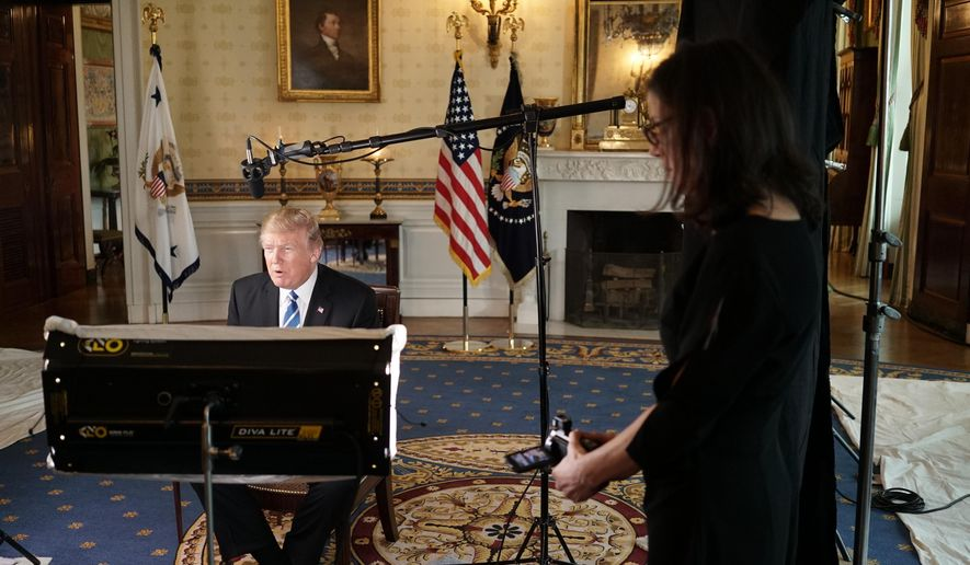 "This image released by HBO shows President Donald Trump during the filming of ""The Words That Built America,"" airing on the Fourth of July on HBO. (HBO via AP)"