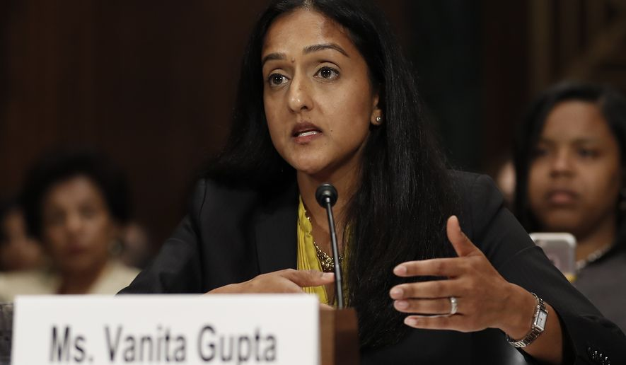 Vanita Gupta, incoming president and CEO for the Leadership Conference for Civil and Human Rights, testifies on Capitol Hill in Washington on May 2, 2017, at a Senate Judiciary Committee hearing on responses to the increase in religious hate crimes. (Associated Press) **FILE**