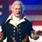 "Actor Alec Baldwin promoted Spike TV's ""One Night Only: Baldwin"" roast by taking on the hybrid persona of George Washington and President Donald Trump. (YouTube, Spike)"