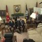 President Trump scolded a group of aggressive reporters who almost knocked over a table lamp in the Oval Office during the president's visit Friday with South Korean President Moon Jae-in. (C-SPAN)
