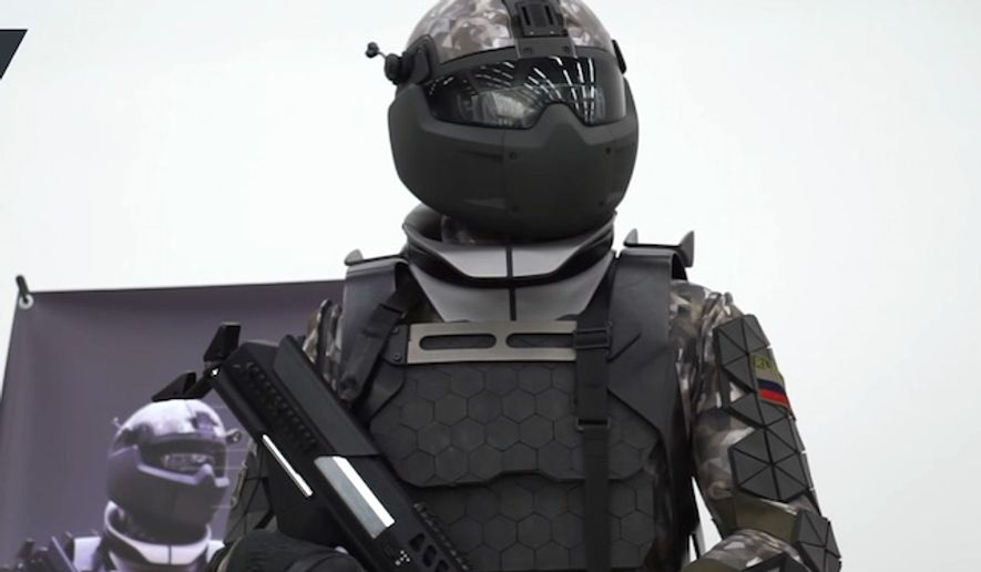 Russia unveiled a high-tech combat suit prototype at its National University of Science and Technology (MISIS) in Moscow, June 29, 2017. (YouTube, RT)