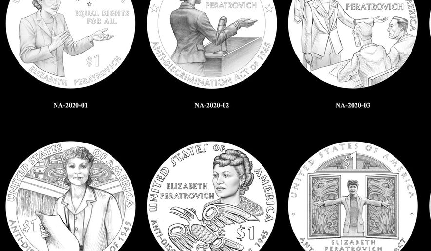 This undated image provided by the U.S. Mint shows coin designs featuring Elizabeth Peratrovich, scheduled to be unveiled in 2020. Peratrovich, an Alaska Native woman whose passionate testimony is credited with swaying the Alaska Territorial Legislature into passing an anti-discrimination bill nearly 20 years before the Civil Rights Act of 1964, will be featured on a new $1 coin honoring Native American civil rights leaders. (U.S. Mint via AP)