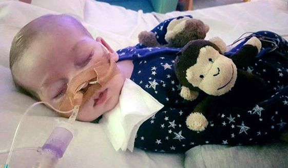 This is an undated hand out photo of Charlie Gard provided by his family, at Great Ormond Street Hospital, in London. The parents of a terminally ill baby boy lost the final stage of their legal battle on Tuesday, June 27, 2017, to take him out of a British hospital to receive treatment in the U.S., after a European court agreed with previous rulings that the baby should be taken off life support. (Family of Charlie Gard via AP)