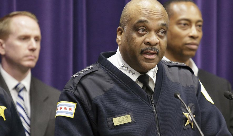 "FILE - In this April 5, 2017, file photo, Chicago Police Department Superintendent Eddie Johnson speaks during a news conference in Chicago. Chicago police, federal agents and prosecutors plan to announce Friday, June 30 they are launching a new initiative to stem the flow of illegal firearms in the city as part of efforts to curb rampant gun violence that President Donald Trump says is at ""epidemic proportions."" (AP Photo/Teresa Crawford, File)"