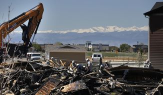 FILE - In this May 4, 2017, file photo, workers dismantle the charred remains of a house at the location where an unrefined petroleum industry gas line leak explosion killed two people inside their home in Firestone, Colo. Fire officials said that an investigation has revealed that the April 17, 2017 explosion was caused by unrefined natural gas that was leaking from a small abandoned pipeline from a nearby well. Energy companies are reporting they have nearly 129,000 underground oil and gas pipelines within 1,000 feet of occupied buildings in Colorado. Friday, June 30, 2017, is the deadline for companies to test those lines for leaks, and about 9,500 results were available at mid-day, with the vast majority indicating the pipelines passed the test.(AP Photo/Brennan Linsley, File)