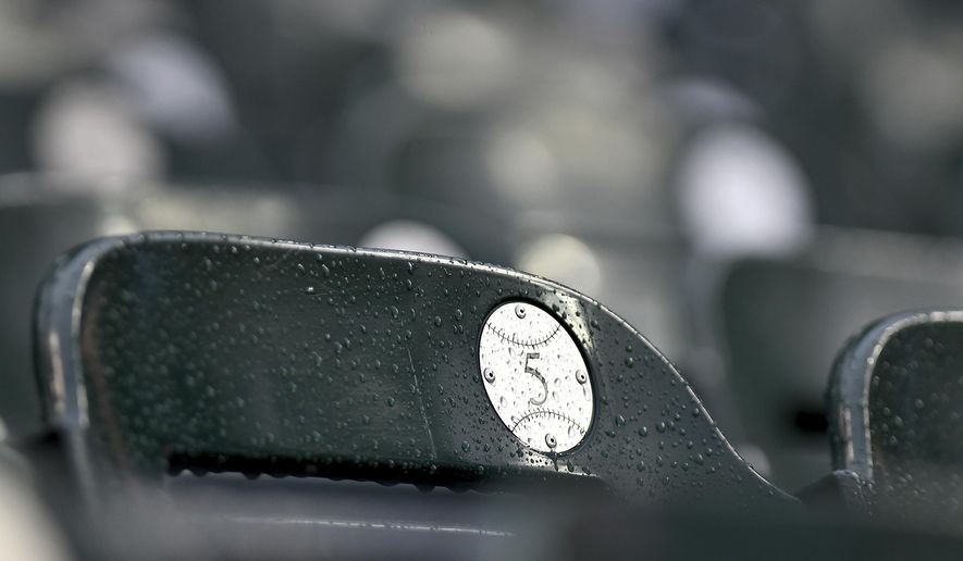 Water beads on the seats at Comerica Park in Detroit as rain pours down Friday, June 30, 2017, causing a baseball game between the Detroit Tigers and the Cleveland Indians to be postponed. The game will be made up as part of a da/night doubleheader on Friday, Sept. 1, 2017. (AP Photo/Lon Horwedel)