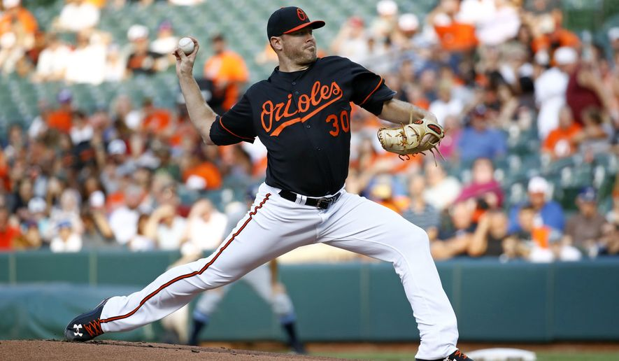 Baltimore Orioles starting pitcher Chris Tillman throws to the Tampa Bay Rays during the first inning of a baseball game in Baltimore, Friday, June 30, 2017. (AP Photo/Patrick Semansky)