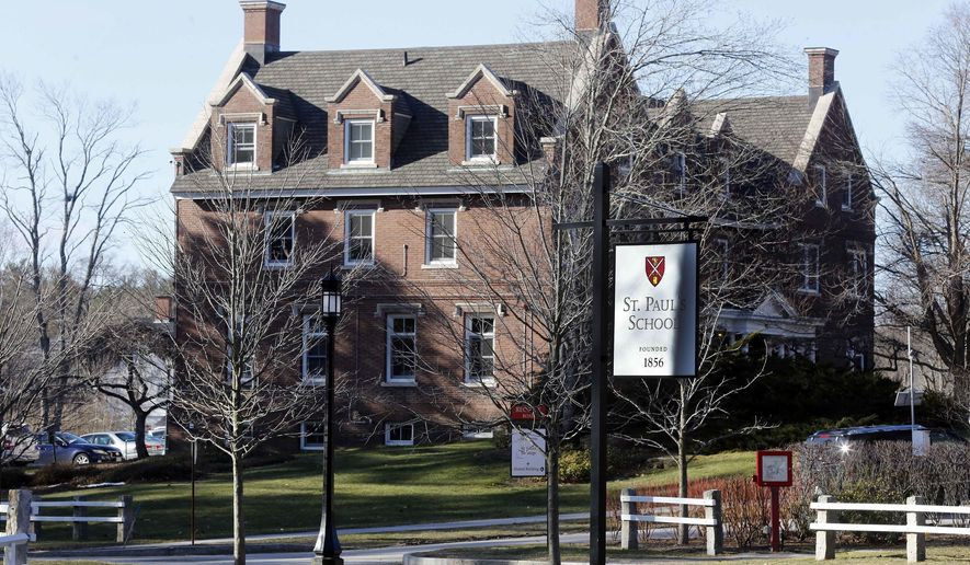 """FILE - This Feb. 26, 2016 file photo, shows the entrance to St. Paul's School in Concord, N.H. New Hampshire police say they've learned of a new game of sexual conquest at the elite prep school where a student was charged in 2014 over a game called the """"Senior Salute."""" The Concord Monitor reported Friday, June 30, 2017, that boys in a St. Paul's School dorm apparently competed to have their names put on a crown. The school said Friday that it's investigating """"improper behavior"""" by students, but it didn't elaborate. (AP Photo/Jim Cole, File)"""