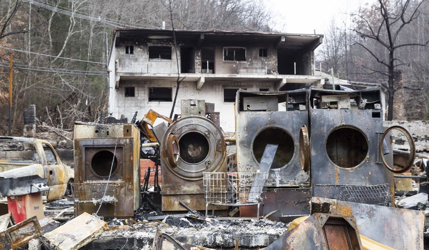 FILE - In this Dec. 9, 2016, file photo, the remains of laundry machines sit on the site of a burned inn near downtown Gatlinburg, Tenn. District Attorney General Jimmy Dunn said Friday, June 30, 2017, that two juveniles would no longer face charges for the wildfire because there were other contributing factors, such as strong winds and down power lines, that contributed to the seriousness of the blaze that killed 14 people. (AP Photo/Erik Schelzig, File)
