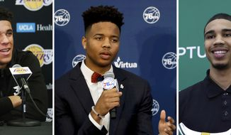 FILE - At left, Los Angeles Lakers draft pick Lonzo Ball talks to reporters in El Segundo, Calif. At center, Philadelphia 76ers' draft pick Markelle Fultz speaks during a news conference in Camden, N.J. And at right, Boston Celtics first-round draft pick Jayson Tatum attends a press conference in Waltham, Mass. At the NBA Summer League, many eyes will be on the top picks, like Fultz, Ball and Tatum. But 30 NBA teams will be scouring rosters looking for a gem who has somehow slipped through the cracks, like Miami did last year when it signed Rodney McGruder to a three-year deal last summer. (AP Photo/File)