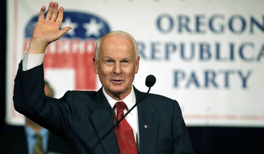 FILE--In this Nov. 8, 2016, file photo, Dennis Richardson, the Oregon Republican Secretary of state candidate, waves to the crowd during an election night event at the Salem Convention Center in Salem, Ore. Richardson, Oregon's chief elections official has been silent on a request by President Donald Trump's commission investigating allegations of voter fraud in the 2016 election for a list of the names, party affiliations and voting histories of all voters if the information is publicly available. (AP Photo/Timothy J. Gonzalez, file)