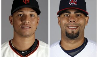 FILE - These 2017 file photos, show San Francisco Giants pitcher Joan Gregorio, left, and Cleveland Indians pitcher Joseph Colon. Gregorio and Colon and have been suspended for the rest of the season under Major League Baseball's drug program following positive tests for performance-enhancing substances, the league announced Saturday, July 1, 2017. (AP Photo/File)